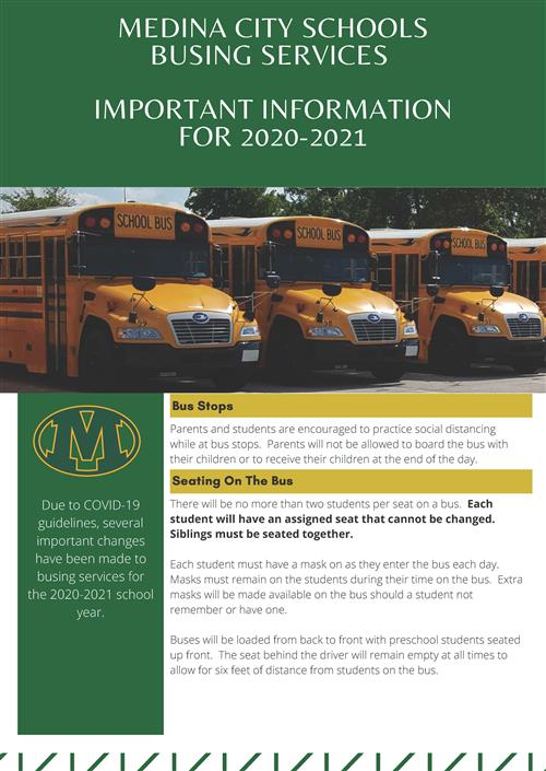 Important Information Regarding Busing Services for 2020-2021
