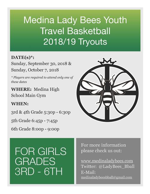 Medina Lady Bees Youth Travel Basketball 2018-2019 Tryouts