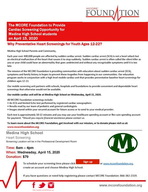 MCORE Foundation to Provide Cardiac Screenings for Medina High School Students on April 15, 2020