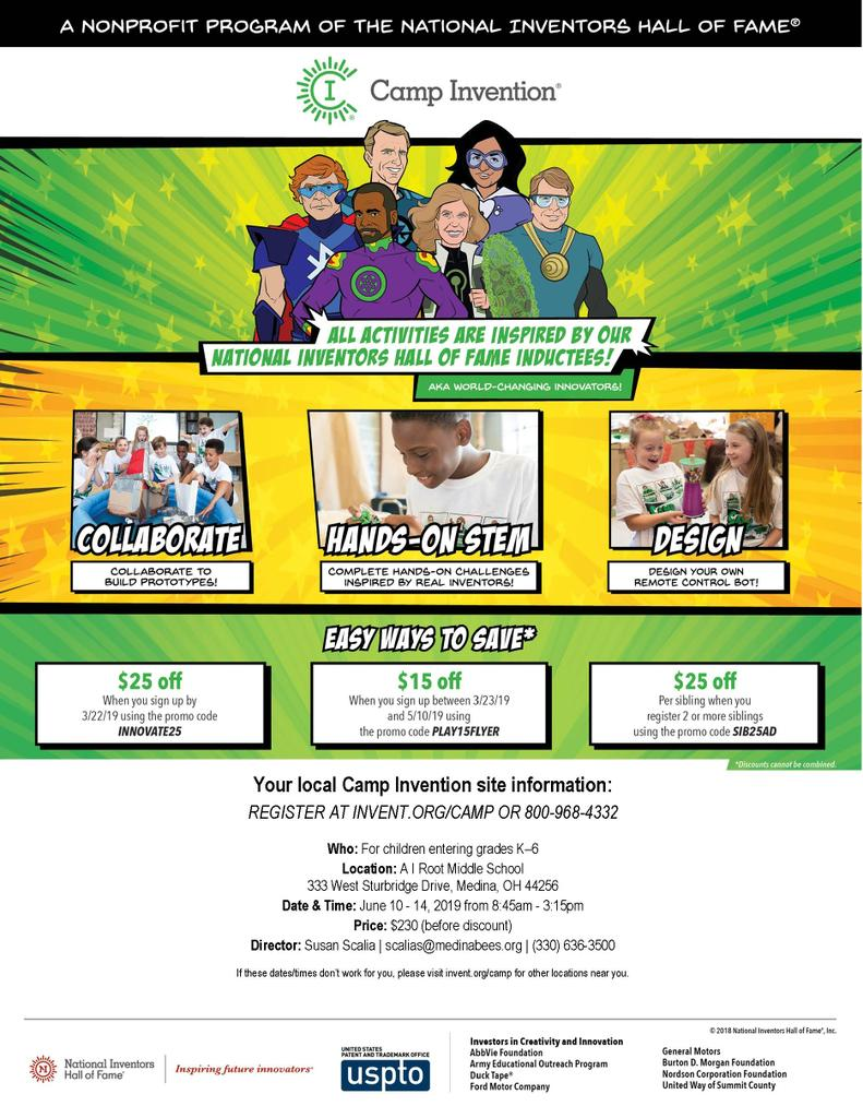 Early Registration for Camp Invention