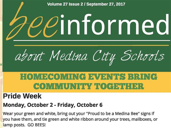 Sign Up for the Medina City Schools Monthly Bee Informed Newsletter