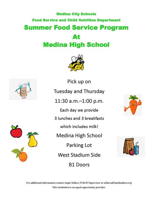 Medina City Schools Food Distribution Medina High School Tuesdays and Thursdays