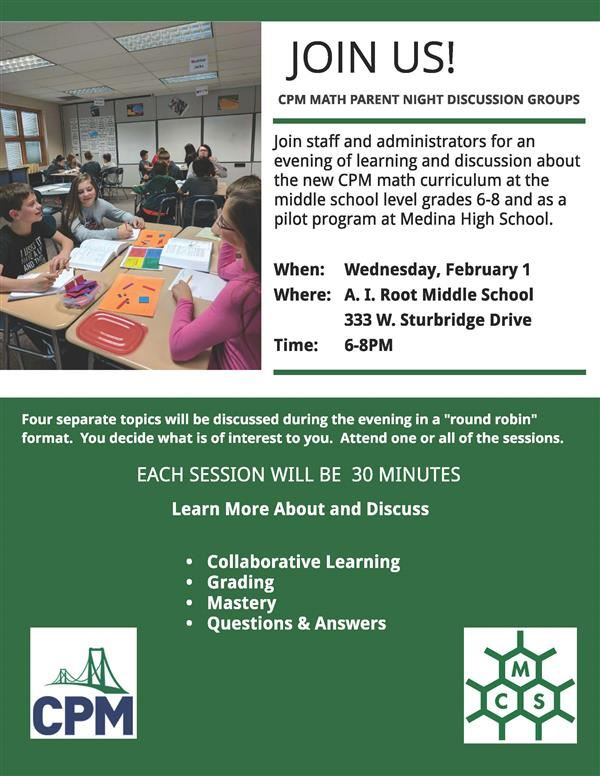 CPM Parent Night Discussion Group Flyer